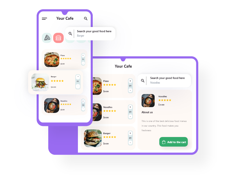 Grubly -Online Ordering System - Web and Mobile Screens View